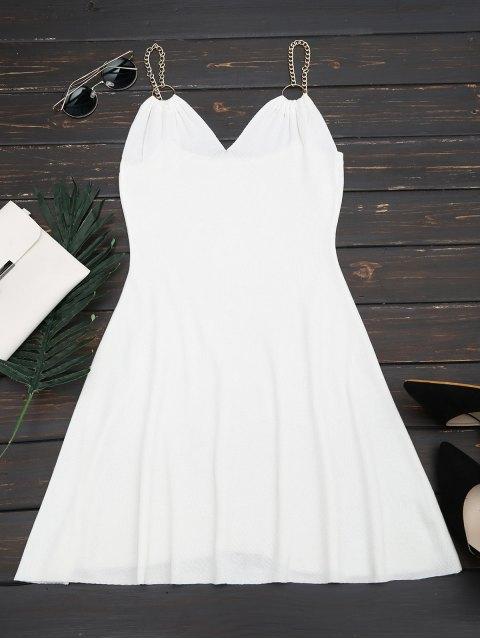 Robe Tissée à Bretelles Métalliques Anneaux Décoratifs - Blanc TAILLE MOYENNE Mobile