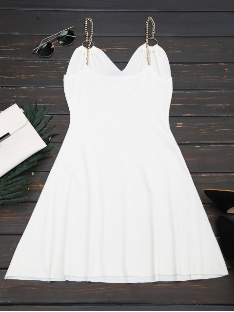 lady Ring Embellished Knitted Flare Dress - WHITE ONE SIZE Mobile