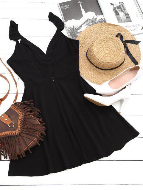 robe à col V à volants en forme de fleurs et à dos V - Noir L Mobile
