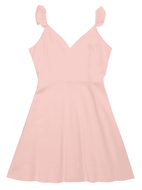 chic V Shaped Back Ruffled Strap Flare Dress - PINK M Mobile