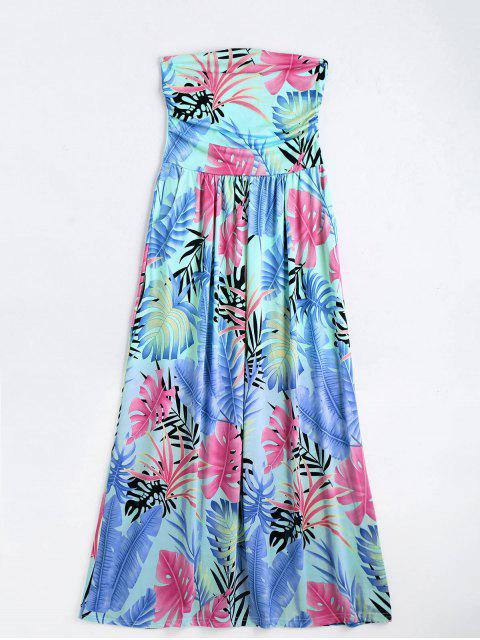 affordable Leaves Print Strapless Maxi Dress - MULTI M Mobile
