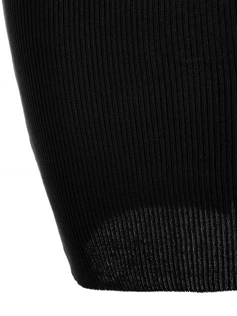 women's Plunging Neck Ribbed Knitted Bodycon Dress - BLACK ONE SIZE Mobile