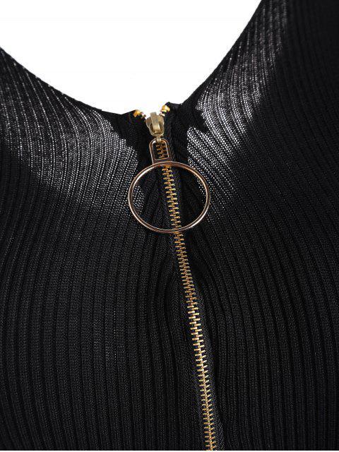 Robe courte en tricot côtelé à col ras du cou - Noir TAILLE MOYENNE Mobile