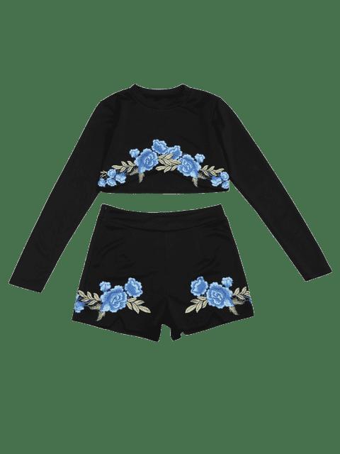 Ensemble à dos et à shorts à motifs floraux - Noir S Mobile
