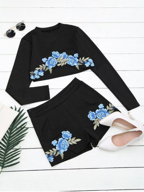 best Floral Patched Top and Shorts Set - BLACK L Mobile