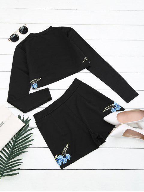 Ensemble à dos et à shorts à motifs floraux - Noir XL Mobile