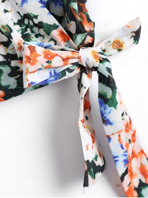 latest Floral Bowknot Wrap Top - FLORAL S Mobile