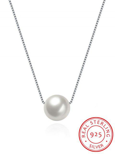 outfits Artificial Pearl Collarbone Silver Necklace - SILVER  Mobile
