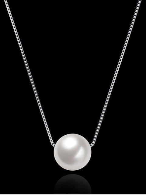Collier en argent à col en perles artificielles - Argent  Mobile