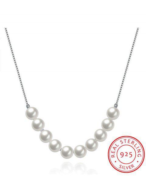 Collier ras du cou en argent 925 décoré de fausse perle - Argent  Mobile