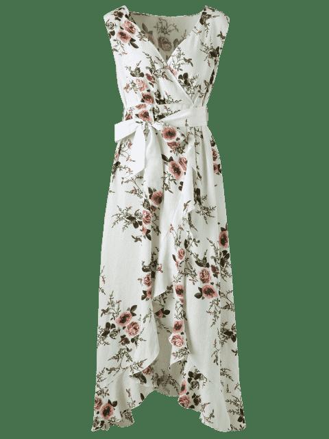 unique Plus Size Tiny Floral Overlap Flounced Flowy Beach Dress - WHITE 5XL Mobile