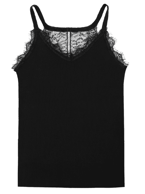 lady Lace Panel Ribbed Knitted Cami Top - BLACK ONE SIZE Mobile
