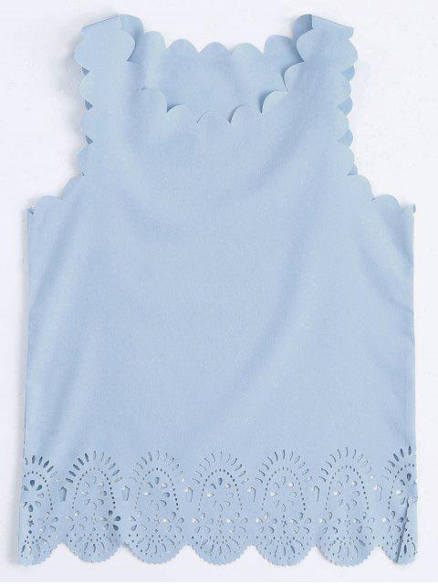 outfits Scalloped Hem Hollow Out Tank Top - LIGHT BLUE L Mobile