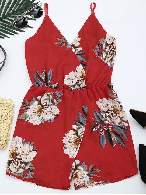 Combishort à Imprimé Floral avec Bretelles spaghetti - Rouge L Mobile