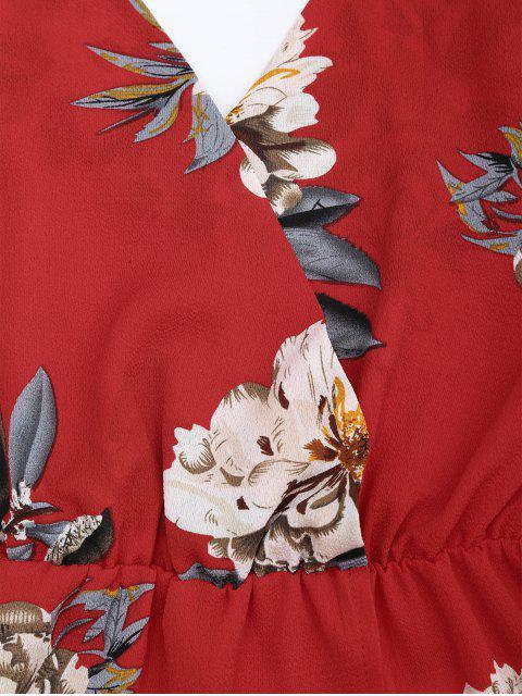 Combishort à Imprimé Floral avec Bretelles spaghetti - Rouge XL Mobile