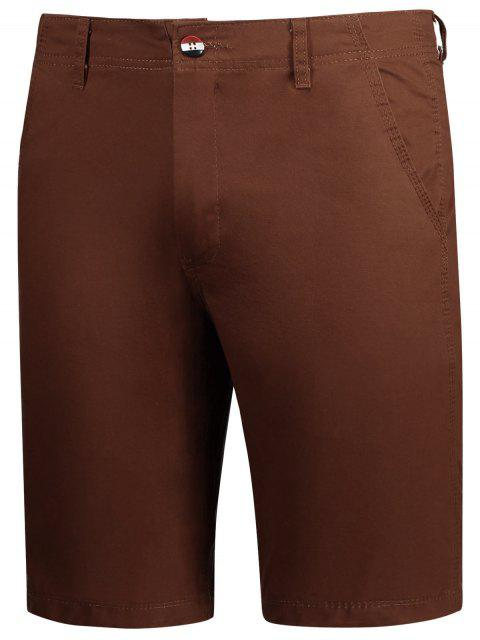 trendy Casual Zip Fly Plain Chino Shorts - BRICK-RED 32 Mobile