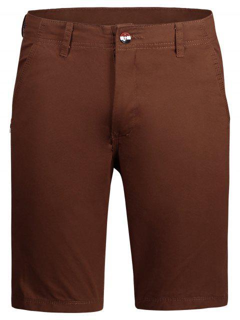 Lässige Einfache Chino Shorts mit Reißverschluss - Ziegelrot 32 Mobile