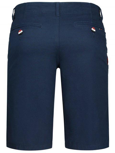 unique Zip Fly Pocket Plain Chino Shorts - CADETBLUE 32 Mobile