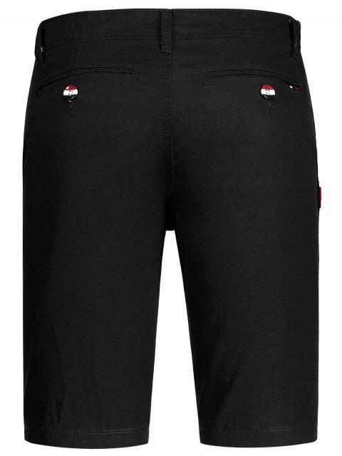 Casual Zip Fly Cotton Chino Shorts - Noir 34 Mobile