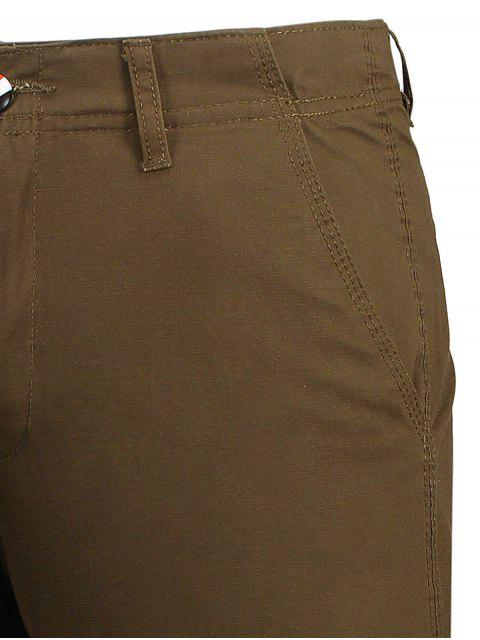 best Zip Fly Pocket Cotton Chino Shorts - BROWN 34 Mobile