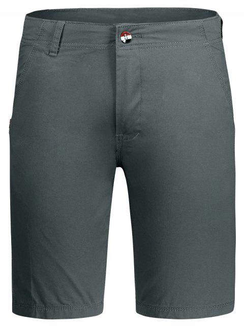 shops Zip Fly Plain Chino Shorts - GRAY 32 Mobile