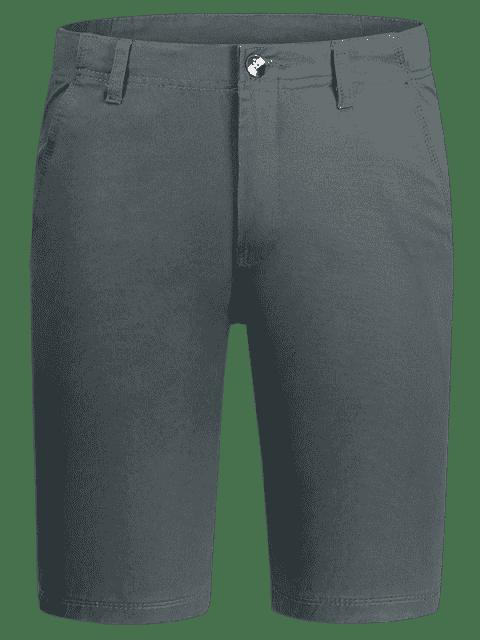 trendy Zip Fly Plain Chino Shorts - GRAY 36 Mobile