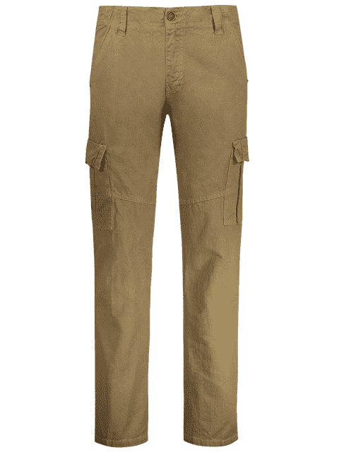affordable Straight Cargo Pants with Multi Pockets - KHAKI 34 Mobile
