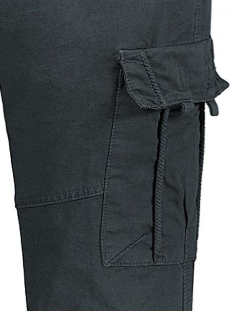 ladies Straight Cargo Pants with Flap Pockets - GRAY 36 Mobile