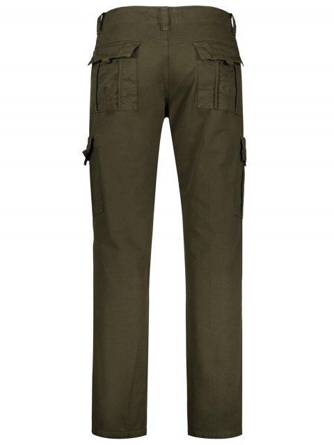 best Flap Pockets Zip Fly Straight Cargo Pants - OLIVE GREEN 32 Mobile
