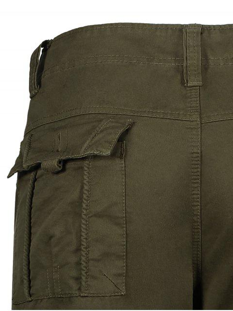 new Flap Pockets Zip Fly Straight Cargo Pants - OLIVE GREEN 36 Mobile