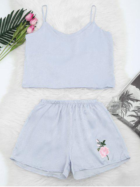outfit Floral Patched Cami Top and Shorts Set - STONE BLUE S Mobile