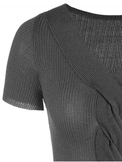 best V Neck Ribbed Glitter Knitted Dress - DEEP GRAY ONE SIZE Mobile