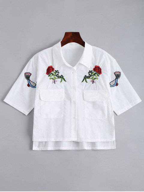 Chemisier à bouton haut avec poches et broderies florales - Blanc Taille Unique Mobile