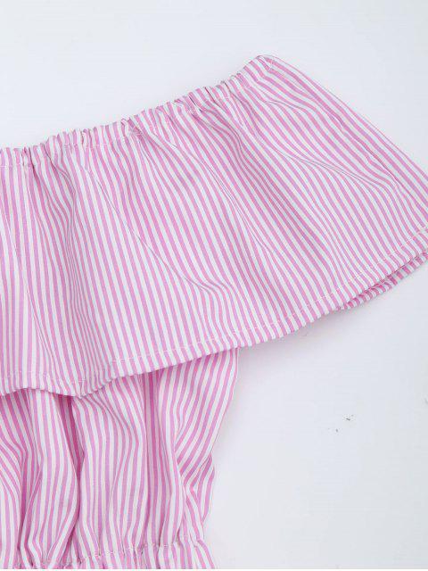 shop Open Back Striped Off The Shoulder Dress - PINK L Mobile