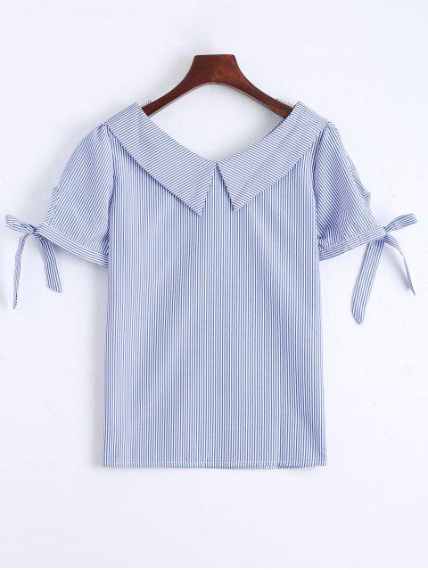 buy Floral Patched Self Tie Striped Blouse - BLUE S Mobile