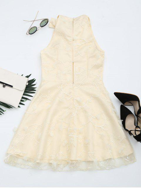 outfits Mesh Panel Bowknot Embellished Flare Dress - APRICOT XL Mobile