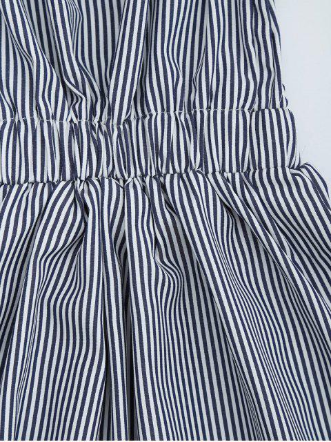 Robe épaules dénudées à rayures dos nu - Bleu Violet S Mobile