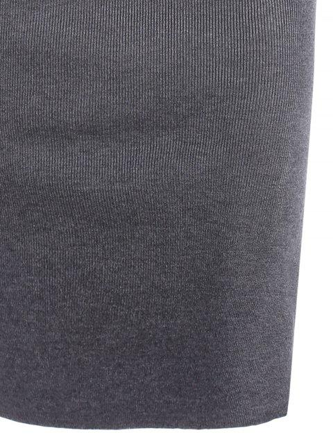 shop Side Slit Knitted Cami Sheath Dress - GRAY ONE SIZE Mobile