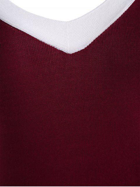 shops Contrast Cami Knitted Dress - DEEP RED ONE SIZE Mobile