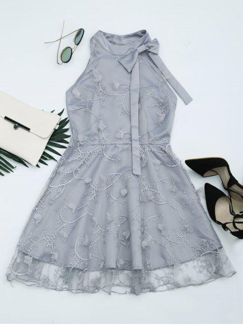 sale Mesh Panel Bowknot Embellished Flare Dress - GRAY L Mobile