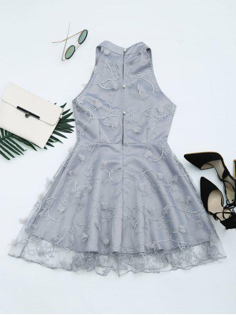 affordable Mesh Panel Bowknot Embellished Flare Dress - GRAY XL Mobile