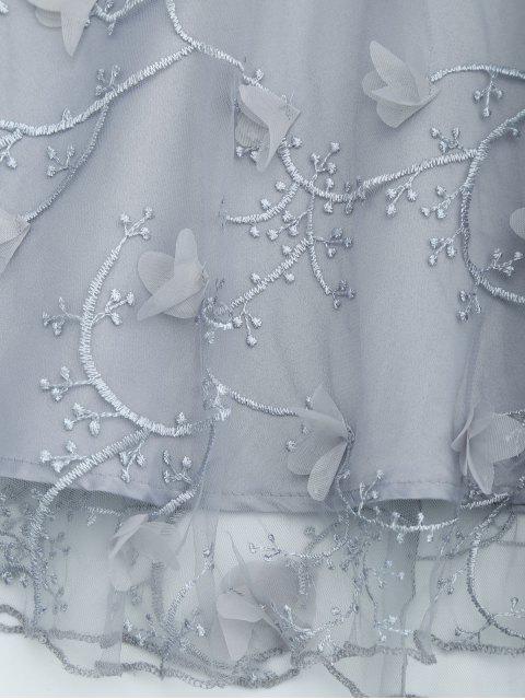 Robe Évasée Brodée Panel Avec Noeud Papillon en Maille - Gris XL Mobile