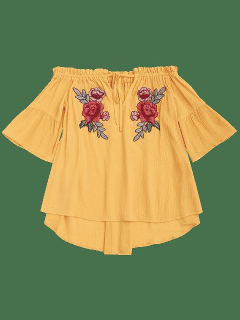 Top Floral Avec Broderie D'épaules Dénudées - Jaune 2XL Mobile