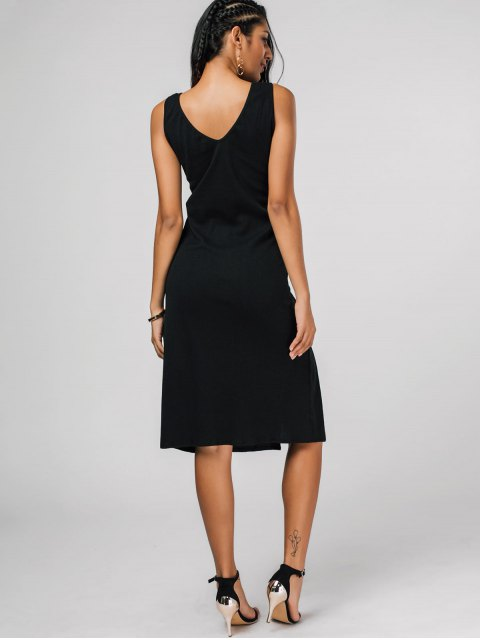 chic Bias Cut Lace Up Pencil Tank Dress - BLACK S Mobile