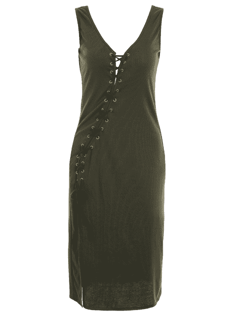 unique Bias Cut Lace Up Pencil Tank Dress - ARMY GREEN S Mobile