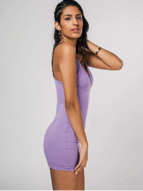 affordable Thin Straps Bodycon Slip Dress - PURPLE L Mobile