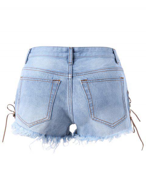 Shorts denim dérachés en dentelle - Bleu clair M Mobile