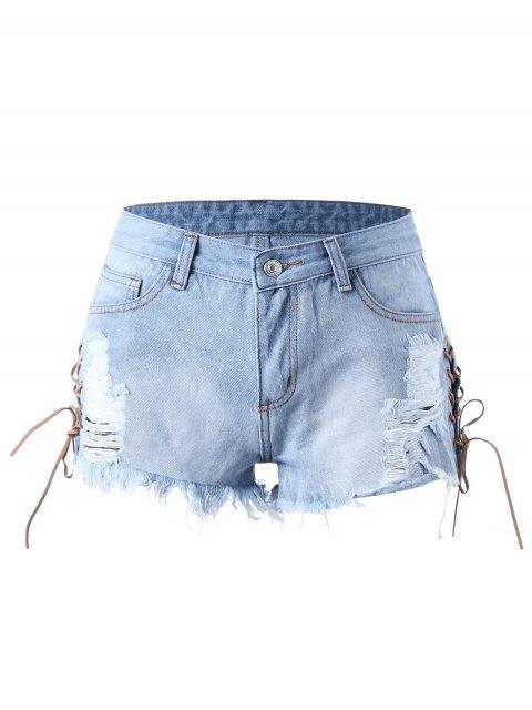 Shorts denim dérachés en dentelle - Bleu clair L Mobile