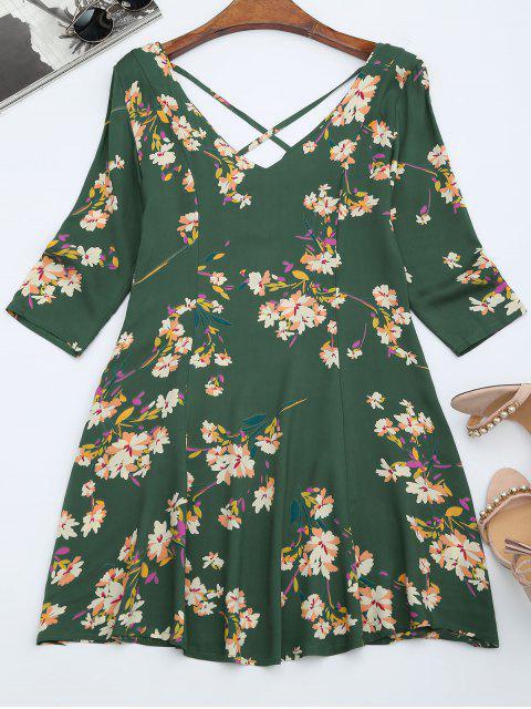 ladies V Neck Floral Print Flared Dress - GREEN M Mobile