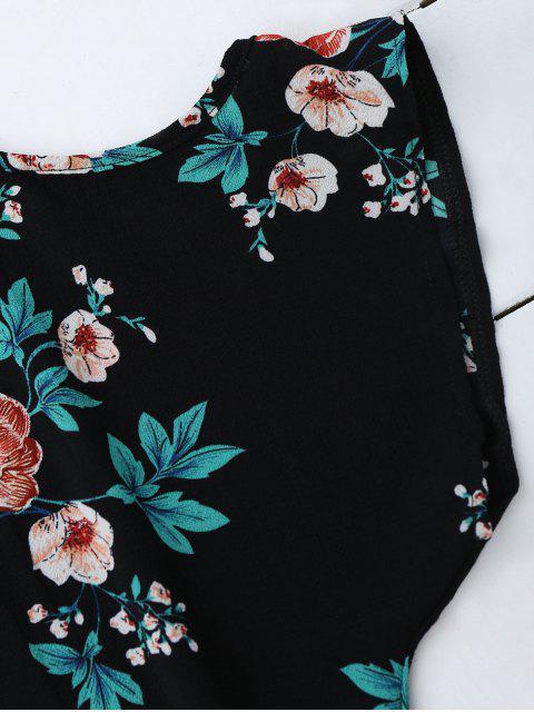Top Floral à Col V Des Épaules Nues - Noir M Mobile